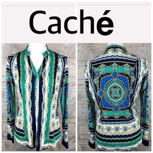 Cache Snap Button Long Sleeves Blouse Size Small